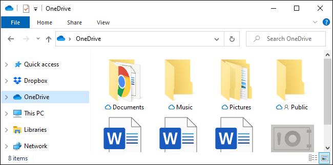 مجلد الشريط الجانبي لـ OneDrive في مستكشف الملفات