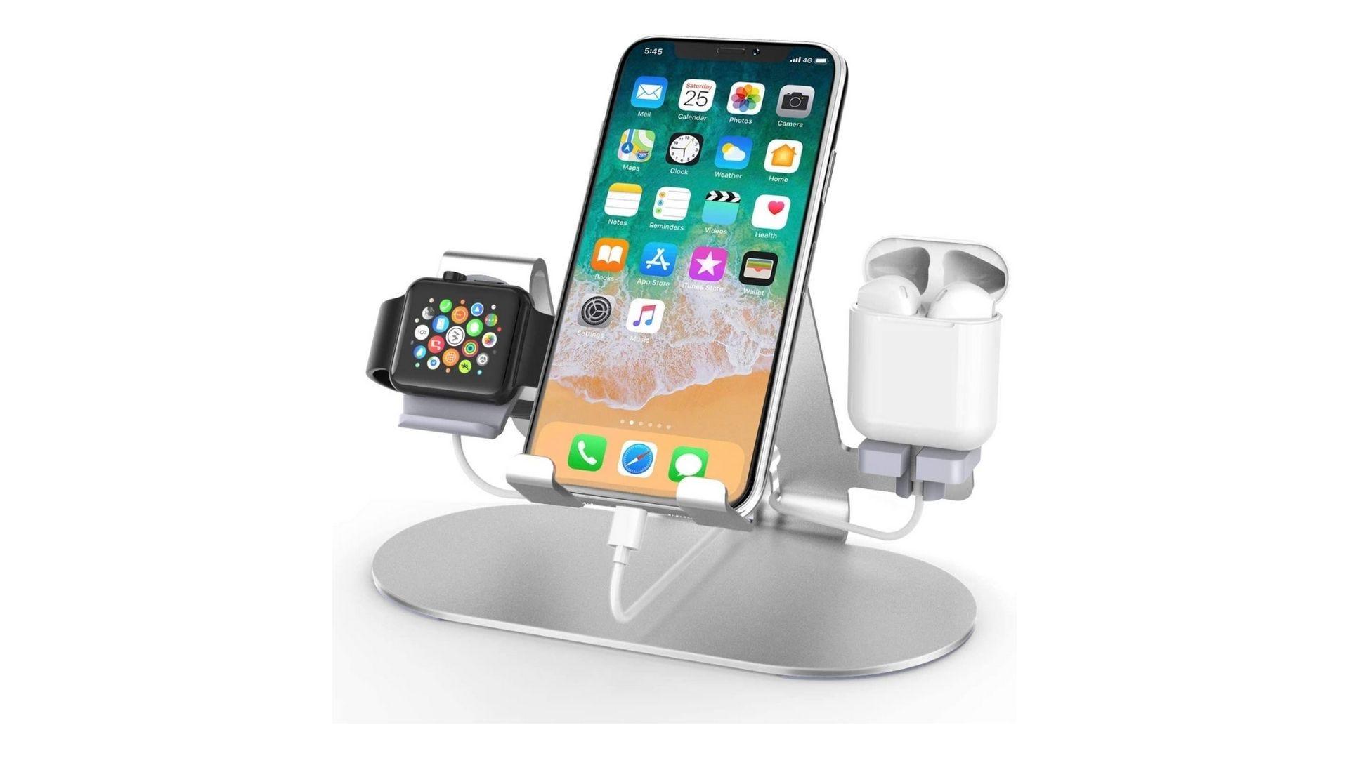 محطة شحن ألمنيوم 3 في 1 ، مناسبة لـ iPhone Apple Watch و Airpods Watch