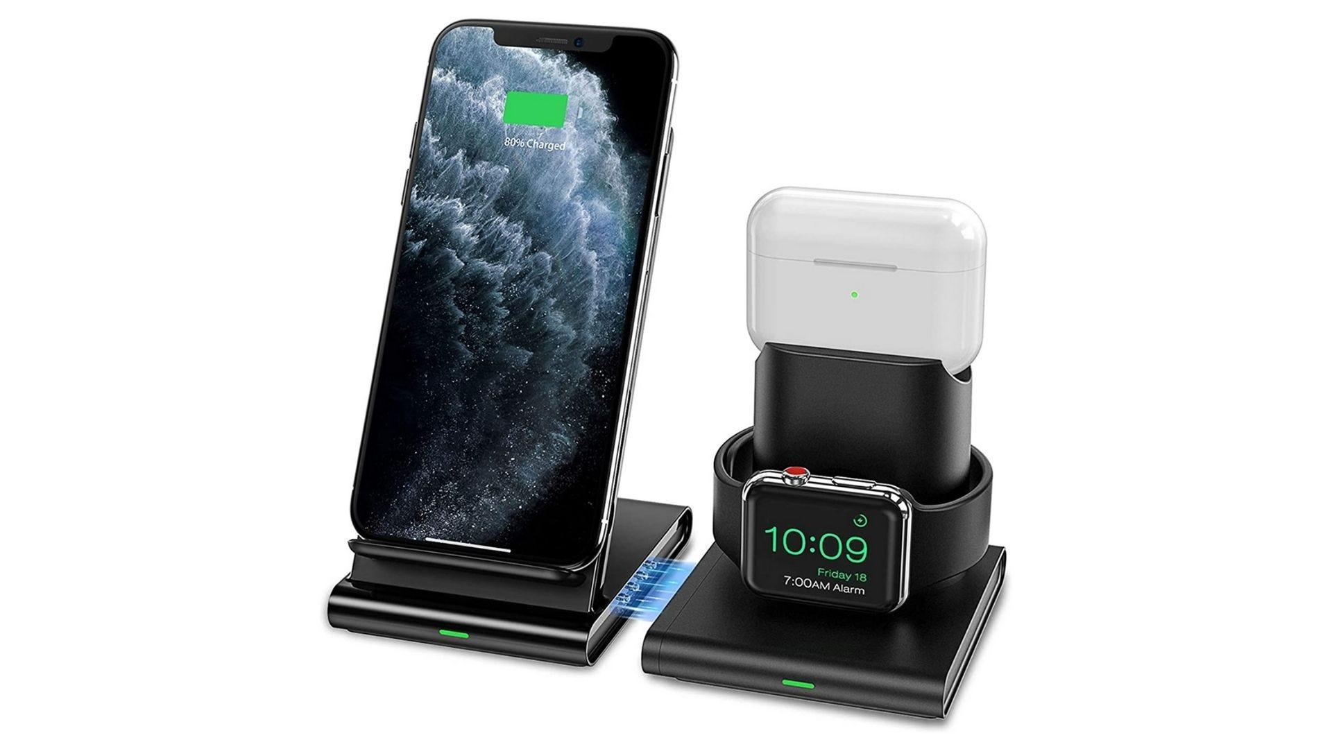 شاحن لاسلكي seneo 3 في 1 Apple Watch iPhone و AirPods