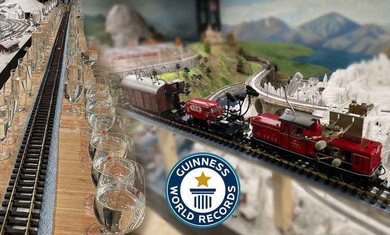 A collage of a model train and wine glasses.