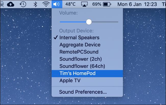 البث من Mac إلى HomePod عبر AirPlay
