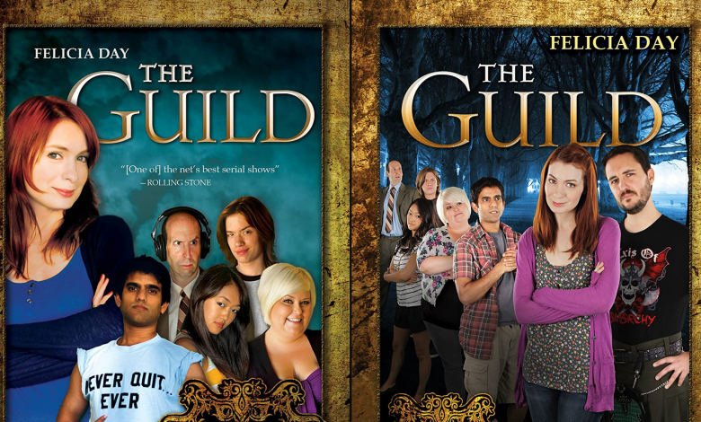 """DVD covers for seasons 1-3 of """"The Guild"""" featuring the cast"""
