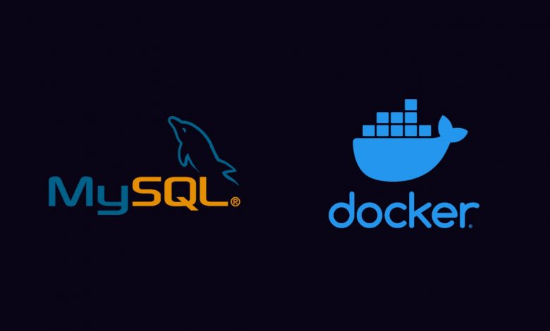 Graphic showing the Docker and MySQL logos