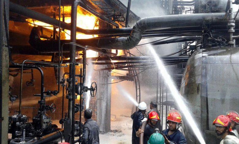 مصفاة نفط في حمص تعاني من حريق