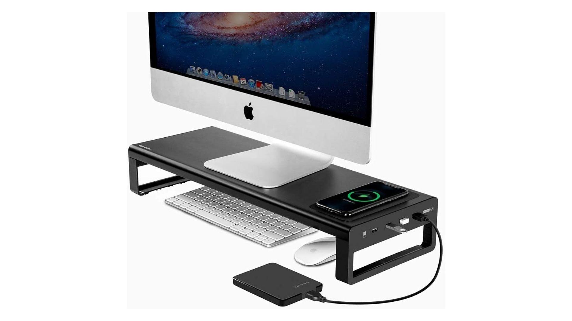 Vaydeer USB3.0 لاسلكي شحن حامل شاشة ألومنيوم لوحة رفع
