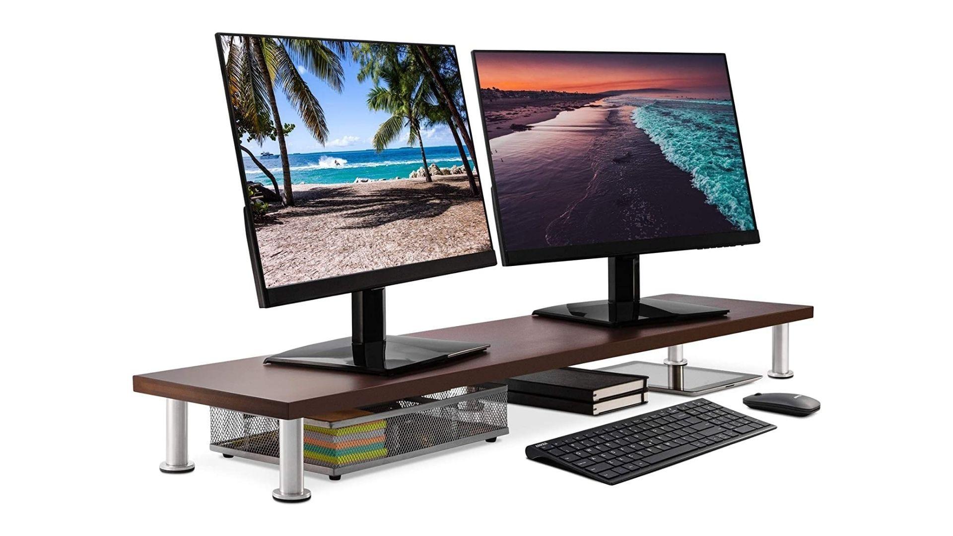 حامل شاشة مزدوج كبير من Office Oasis لشاشة الكمبيوتر