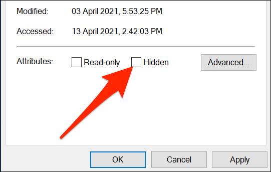 """قم بإلغاء التحديد """"مختفي"""" احصل على أيقونة سطح المكتب في نافذة"""