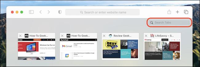 """هذا """"علامات البحث"""" شريط الأدوات في مبدل علامات التبويب في Safari على Mac"""