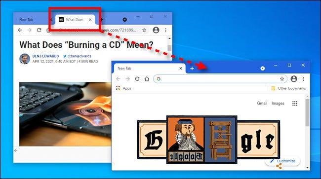 اسحب علامات التبويب بين نوافذ المتصفح لمتصفح Google Chrome.