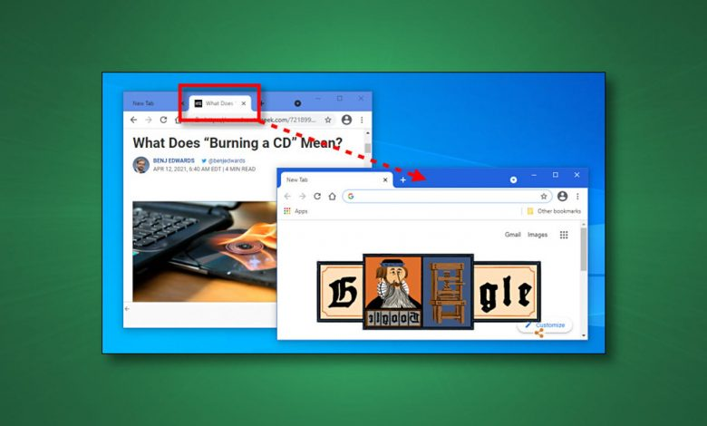 يمكنك سحب علامات التبويب بين نوافذ المتصفح في Chrome (والمتصفحات الأخرى)