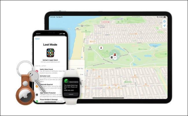 مثال على جهاز Apple مفقود.
