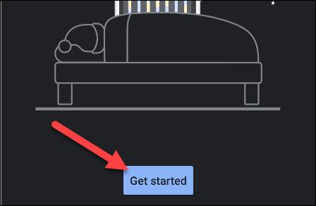 """مقبض """"ابدأ باستخدام"""" داخل """"وقت النوم"""" طلب."""