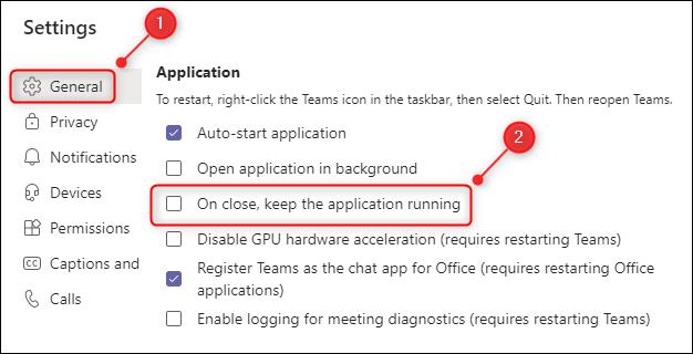 """هذا """"بعد الإغلاق ، استمر في تشغيل التطبيق"""" خيارات القائمة."""