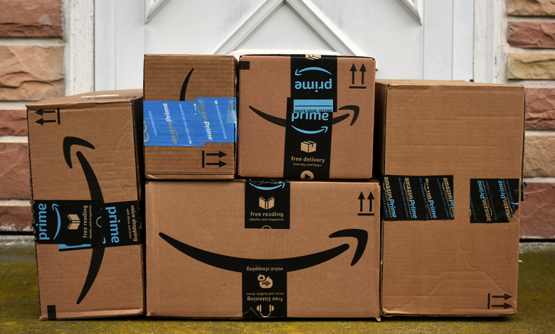 A stack of Amazon boxes.