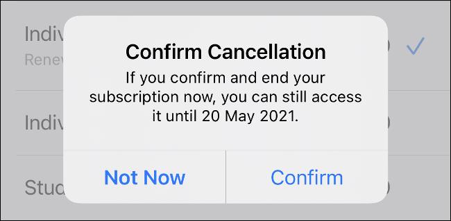 قم بتأكيد الإلغاء على iPhone