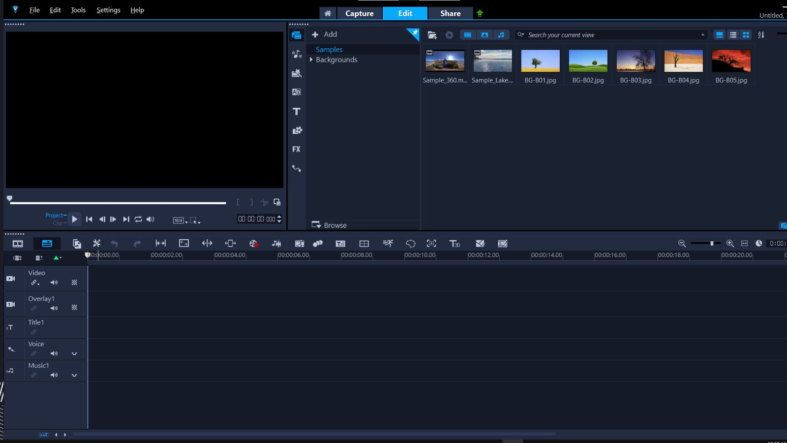 نافذة التحرير الرئيسية VideoStudio Pro
