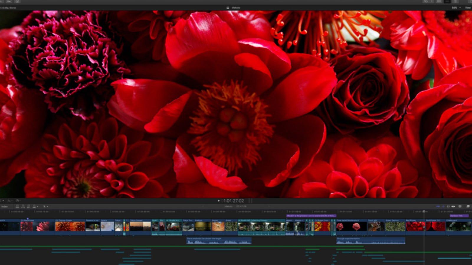 نافذة التحرير الرئيسية لبرنامج Final Cut Pro