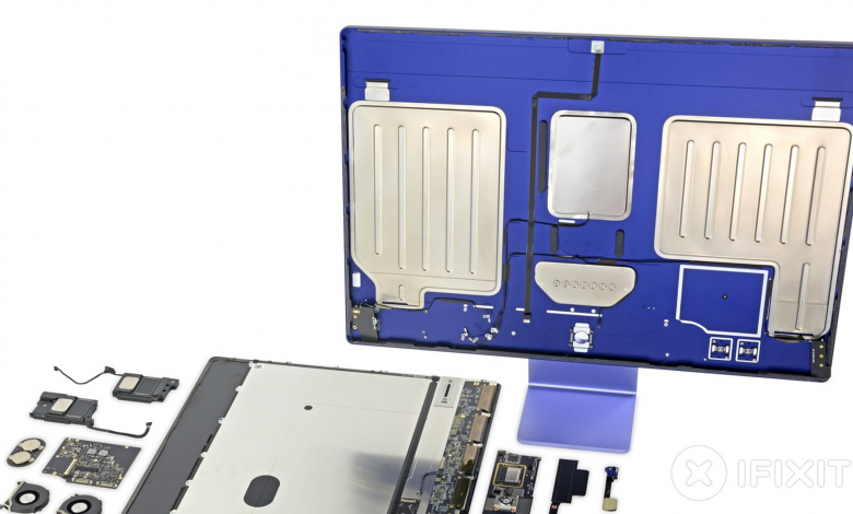 The M1 iMac stripped down to its bones.