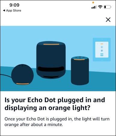 يسأل تطبيق Alexa عما إذا كان Echo Dot يظهر ضوءًا برتقاليًا.