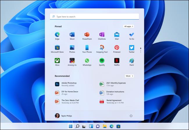 قائمة البدء الجديدة لنظام التشغيل Windows 11.
