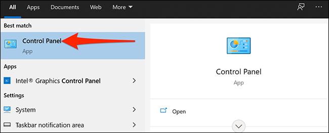 """البحث عن """"لوحة التحكم"""" في قائمة ابدأ في Windows 10."""