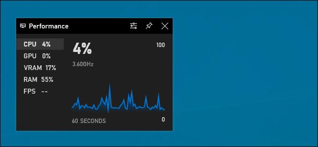 عنصر واجهة مستخدم يعرض مخطط استخدام وحدة المعالجة المركزية في شريط ألعاب Xbox في نظام التشغيل Windows 10.