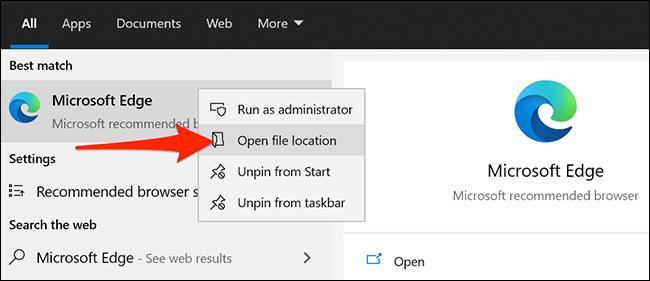 Microsoft Edge في قائمة بدء Windows 10.