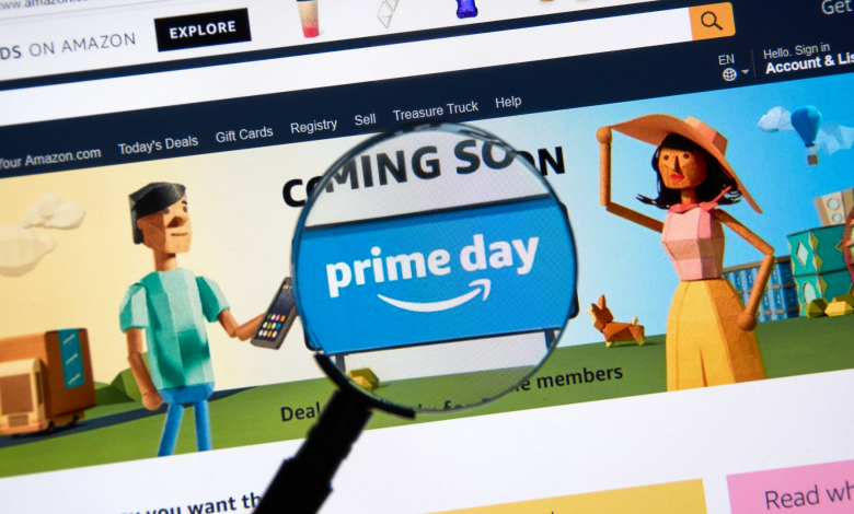 """A magnifying glass over a """"Prime Day"""" button on the Amazon website"""