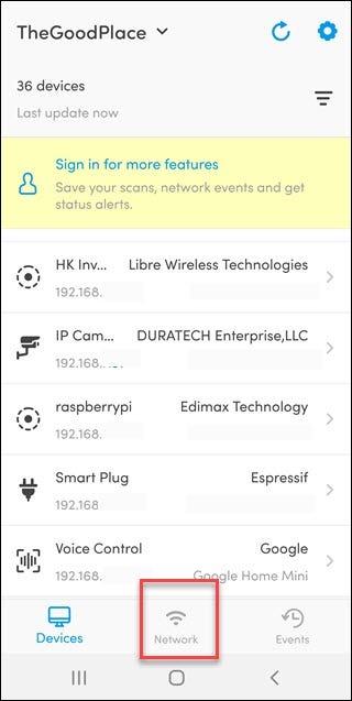 تطبيق Fing مع مربع خيار الشبكة