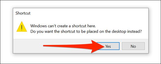"""تحديد """"نعم إنه كذلك"""" في موجه إنشاء اختصار Windows 10 VPN."""