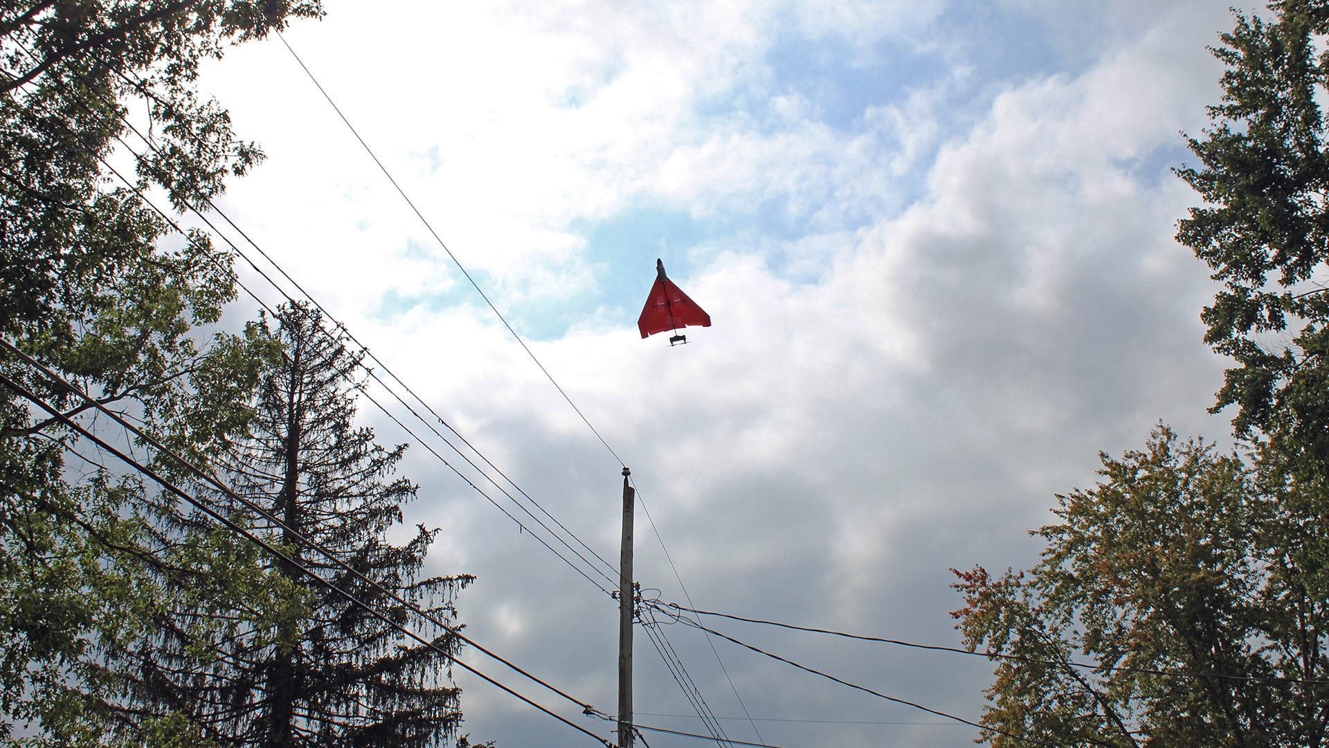 طائرة ورقية يتم التحكم فيها عن بعد تطير عالياً نحو السلك.