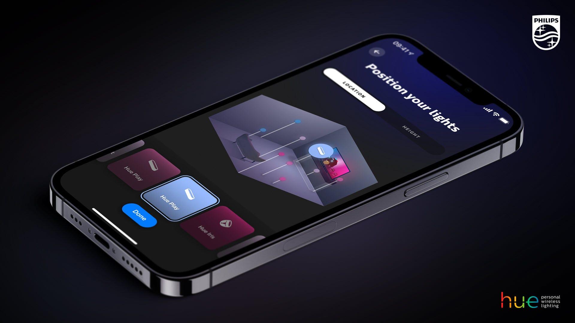 تطبيق Philips Hue مع واجهة موقع الغرفة.