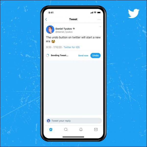 زر التراجع الأزرق على Twitter.