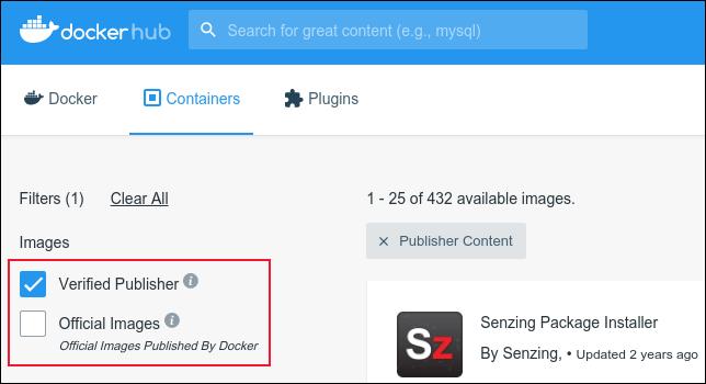 مربعات اختيار للناشرين المعتمدين والصور الرسمية على Docker Hub