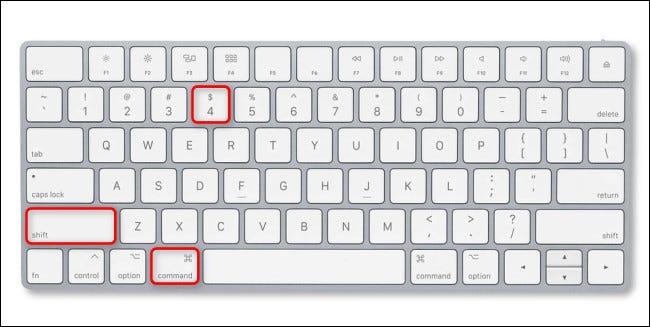اضغط على Command + Shift + 4 على لوحة مفاتيح Mac.