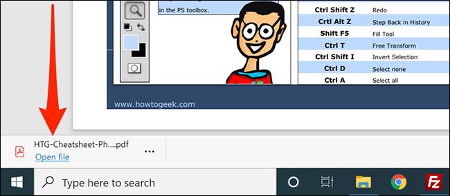 لوحة التنزيل في Microsoft Edge.