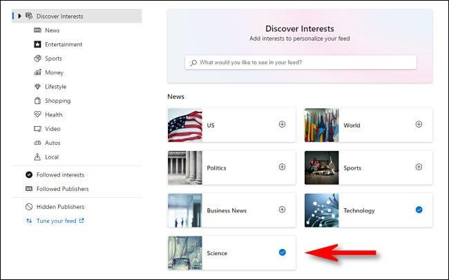 """في """"ابحث عن الاهتمام"""" صفحة ، حدد الموضوع الذي تريد عرض الأخبار في عنصر واجهة مستخدم أخبار Windows 10."""