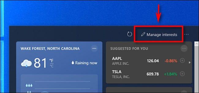 """في أداة أخبار Windows 10 ، انقر فوق """"مصلحة الإدارة."""""""