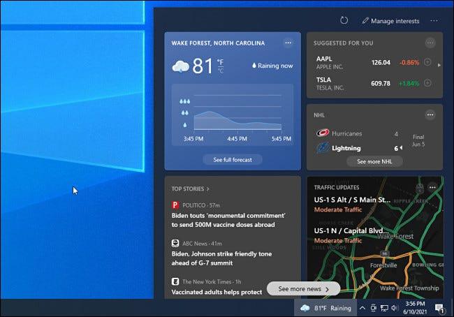 عنصر واجهة مستخدم أخبار ومعلومات Windows 10