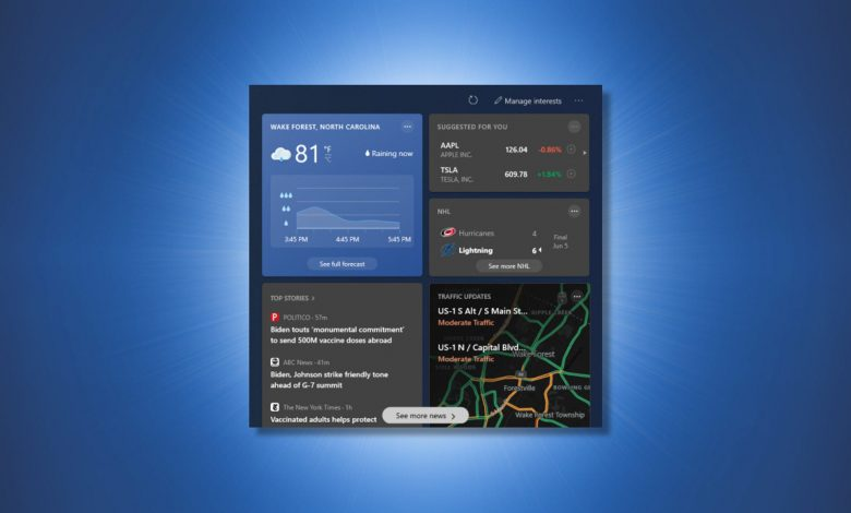 كيفية تكوين عناصر واجهة مستخدم شريط مهام الطقس والأخبار في Windows 10