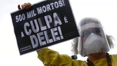 صورة مع احتشد المتظاهرين المناهضين للحكومة ، يوجد في البرازيل أكثر من 500000 حالة وفاة من COVID | أخبار جائحة فيروس كورونا