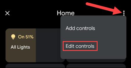 """انقر فوق القائمة وحدد """"تحرير التحكم."""""""
