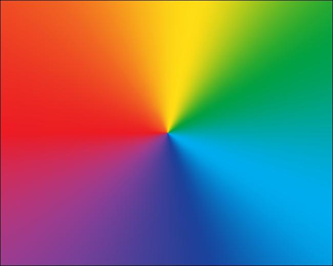 يُظهر تدرجًا شعاعيًا لألوان قوس قزح.