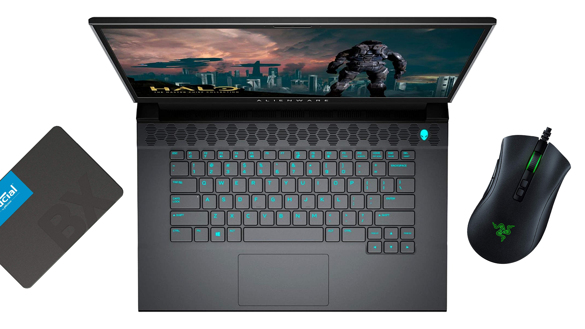 كمبيوتر محمول من Alienware و Crucial SSD و Razer Deathadder mouse.