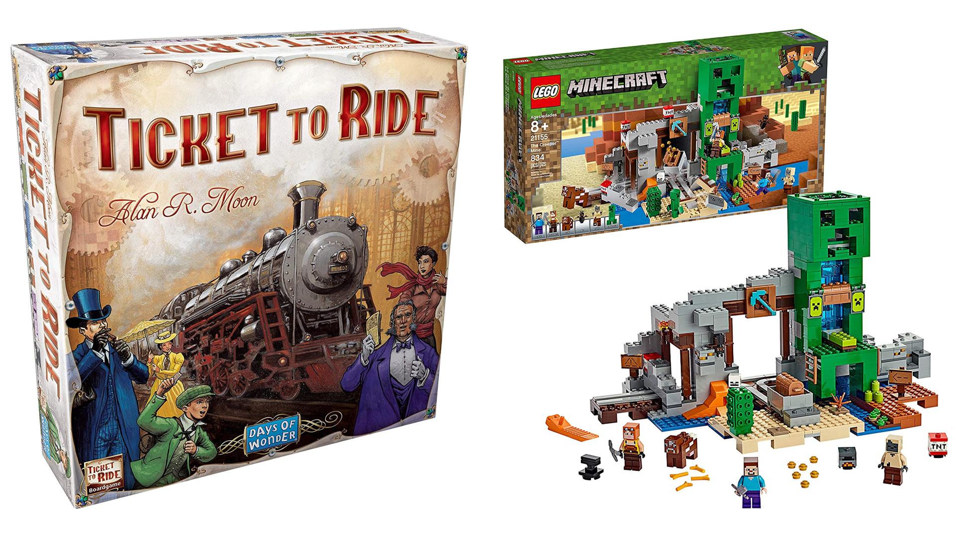 لعبة لوح الركوب ومجموعة LEGO Minecraft Creeper.