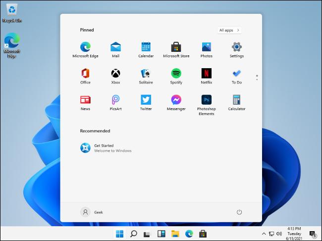 تسريب قائمة بدء Windows 11
