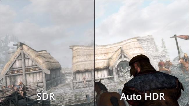 قارن SDR القياسي و HDR التلقائي في Skyrim على جهاز كمبيوتر يعمل بنظام Windows 11.