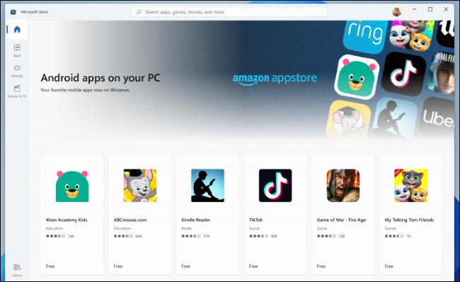 تطبيق Android من Amazon Appstore في متجر Microsoft