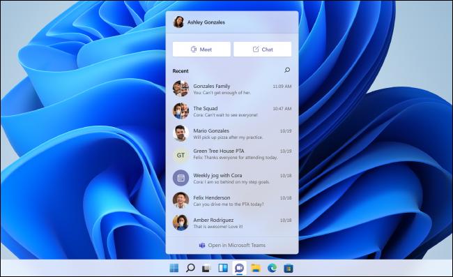 نافذة الدردشة المنبثقة لـ Microsoft Teams على Windows 11.