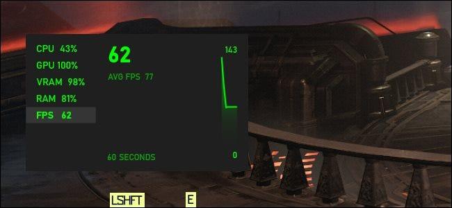 رسومات FPS لنظام التشغيل Windows 10 تطفو فوق لعبة الكمبيوتر الشخصي.